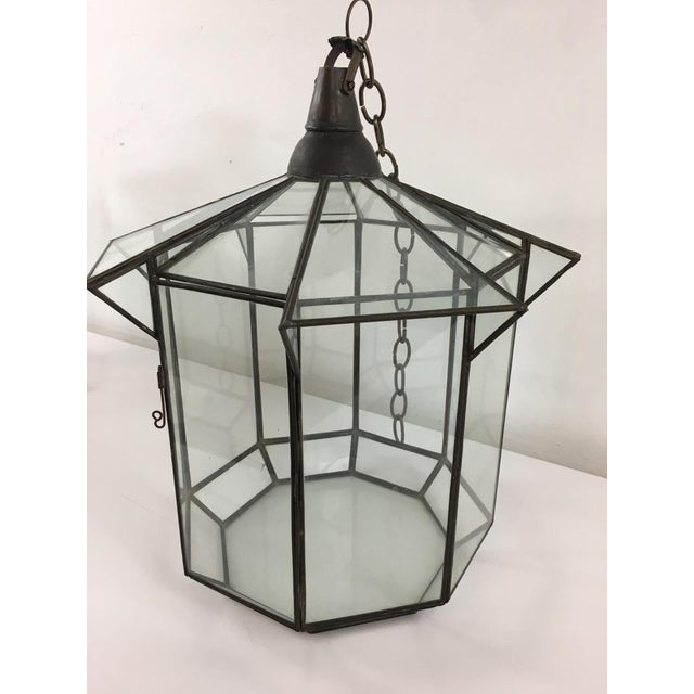 Moroccan Brass and Clear Glass Lantern For Sale - Image 5 of 7