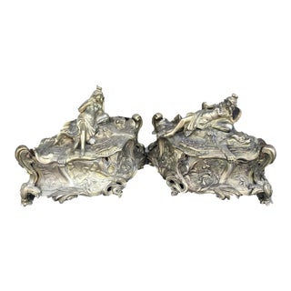 Antique Béroude Louis XV Style Bronze Jewelry Boxes - a Pair For Sale
