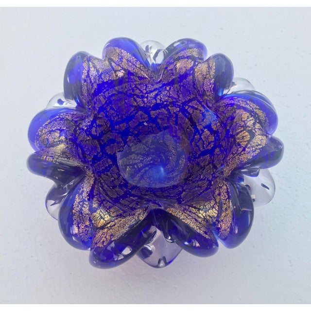 Boho Chic 1960s Vintage Cobalt and Gold Murano Glass Bowl For Sale - Image 3 of 5