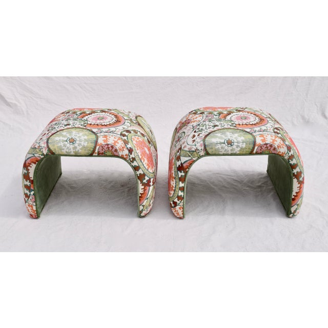 Boho Chic 1970's Milo Baughman for Directional Waterfall Benches - a Pair For Sale - Image 3 of 12