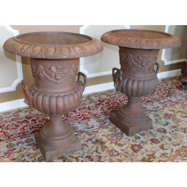 Rusted Cast Iron Garden Urns - A Pair - Image 3 of 6