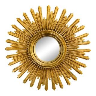 Mid Century European Convex Gold Gilt Resin Sunburst Mirror For Sale