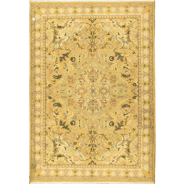Traditional Hand Woven Gold and Beige Wool Rug - 6'2 X 9'10 For Sale - Image 4 of 4