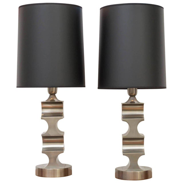 Italian Architectural Pewter Lamps - A Pair For Sale - Image 9 of 9