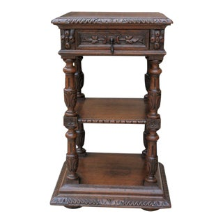 Antique French Oak Renaissance Revival 2-Tier Side Cabinet End Table Nightstand With Drawer For Sale