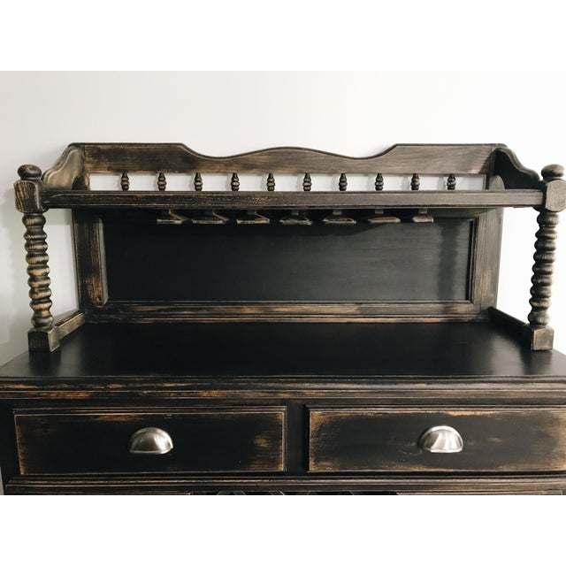 Black Distressed Bistro Coffee Bar Hutch Cabinet For Sale - Image 9 of 11