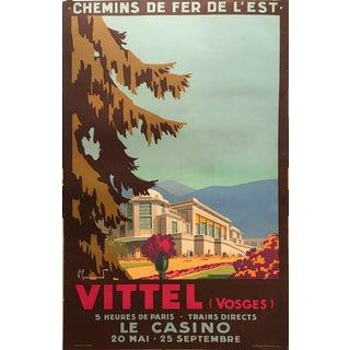 1930s Original Art Deco French Travel Poster, Vittel (Casino) For Sale