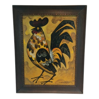 "Paco Goraspe (Picasso of the Philippines) Framed Oil on Canvas ""Rooster"" Painting For Sale"