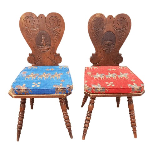 Charming Very Cute Alpine Chalet Style French Alps Rustic Side Chairs For Sale