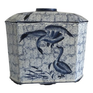 Asian Chinoiserie Blue and White Bird Vase For Sale
