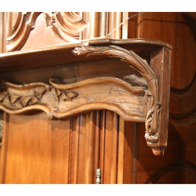 19th Century French Carved Walnut Hanging Decorative Shelf From Normandy For Sale In Dallas - Image 6 of 8