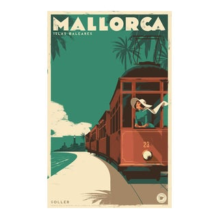 Danish Modern Travel Mallorca Poster, Soller Vintage Train For Sale