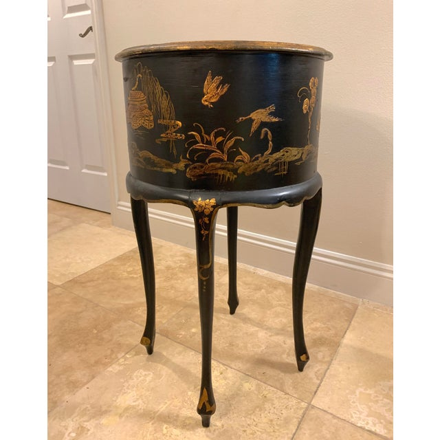 Wood Vintage Chinoiserie Hand Painted and Gilt Pictorial Ebonized Two Drawer Side Table For Sale - Image 7 of 13