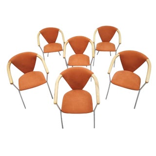 Brand New Set of 6 Modernist Chrome and Wood Italian Burnt Orange Dining Chairs For Sale