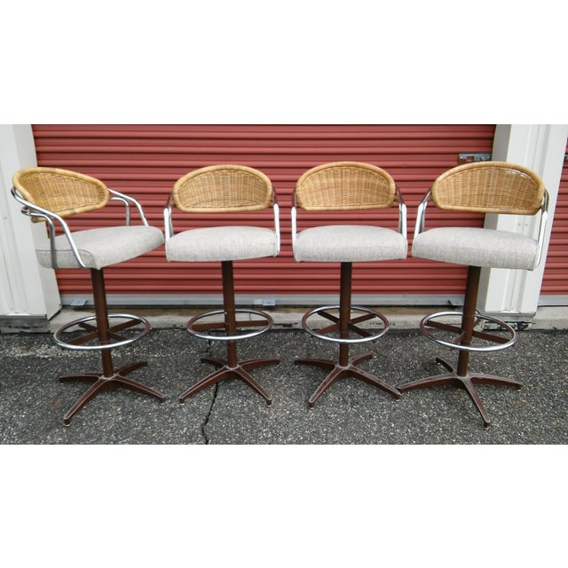 Vintage Samsonite Wicker & Upholstered Swivel Bar Stools - Set of 4 For Sale - Image 11 of 11