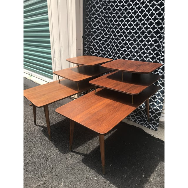 Gold Mid-Century Modern 3 Tier Wood/Brass Side Tables - a Pair For Sale - Image 8 of 10