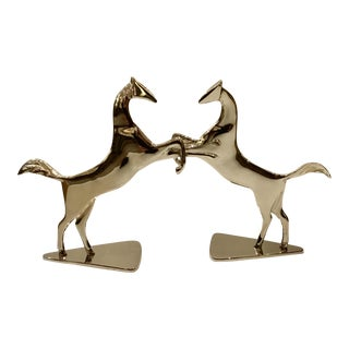 Polished Nickel Standing Horses - a Pair For Sale