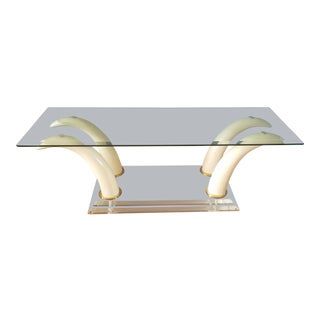 Faux Elephant Tusk and Lucite Coffee Table For Sale