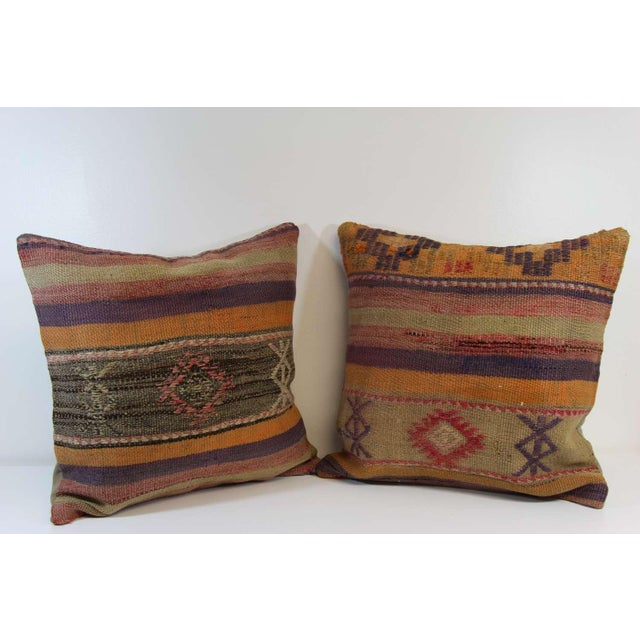 Turkish Kilim Pillow Covers - A Pair - Image 2 of 7
