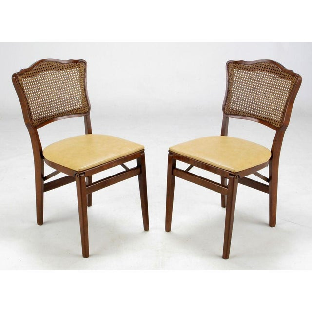 Wood Set of Four Mahogany, Cane & Leather Regency Folding Chairs For Sale - Image 7 of 11