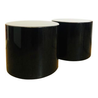 Pair of Contemporary Vintage Lacquered Black Cylinder Side Tables For Sale