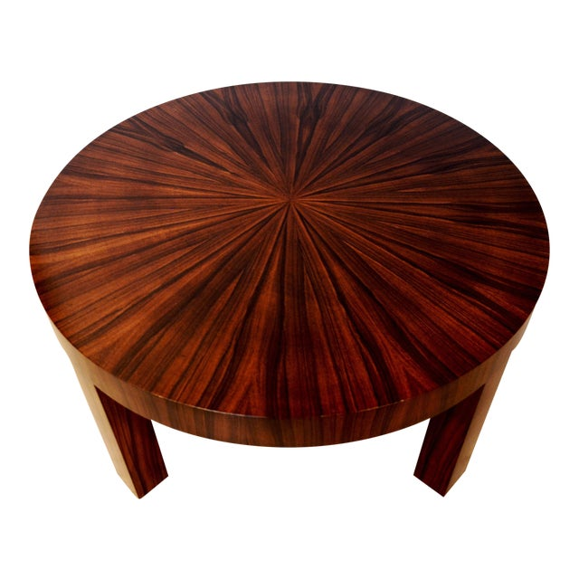 Art Deco Jean Michel Frank Style Circular Wood Coffee Table - Image 1 of 9