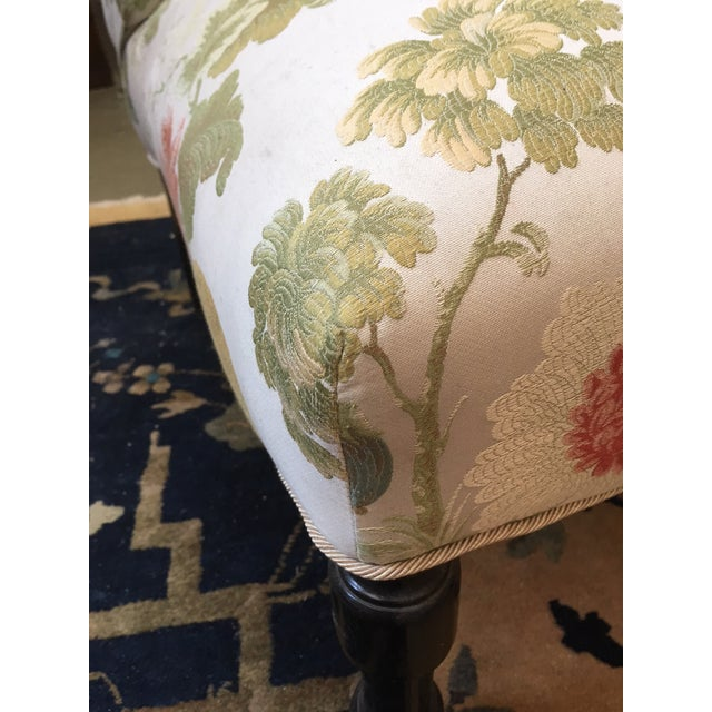 Late 19th Century Late 19th Century Vintage Scalamandre Floral Upholstery Fabric Late Victorian Slipper Chair For Sale - Image 5 of 11