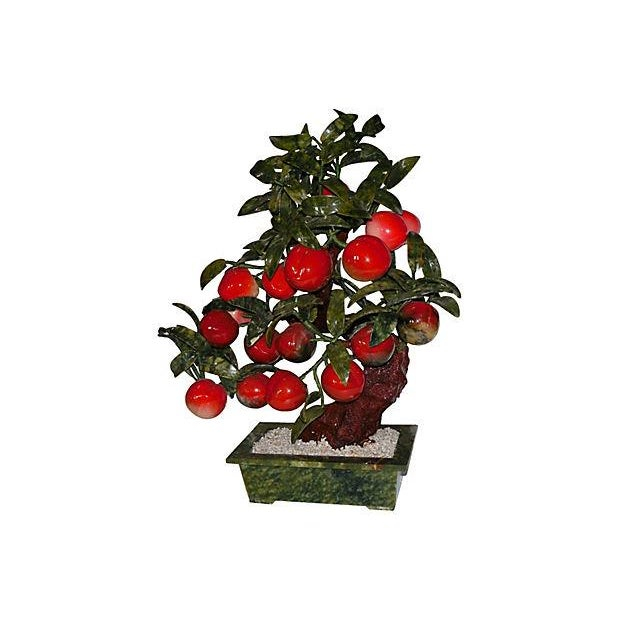 Large Carved Jade & Stone Peach Tree - Image 2 of 6