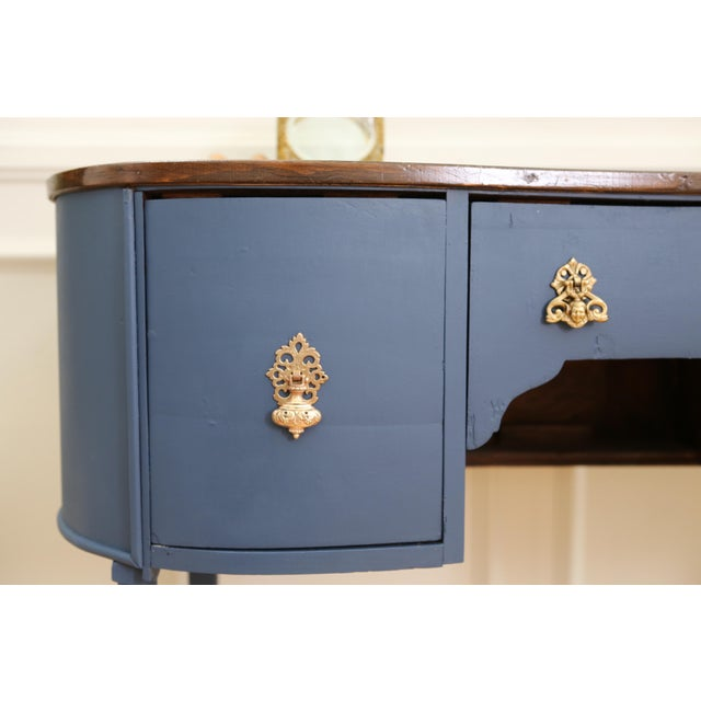 Circa 1930 Louis XV Style Petite Kidney Shaped Desk For Sale - Image 9 of 11