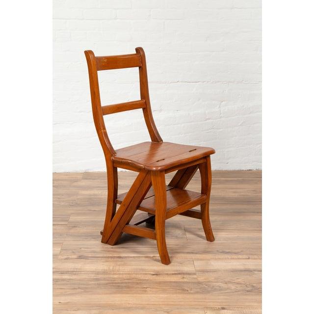 Vintage Dutch Colonial Metamorphic Teak Step Ladder Folding Side Chair For Sale - Image 4 of 13
