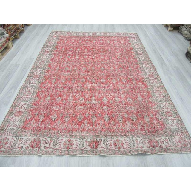 Vintage Floral Turkish Rug - - Image 3 of 6