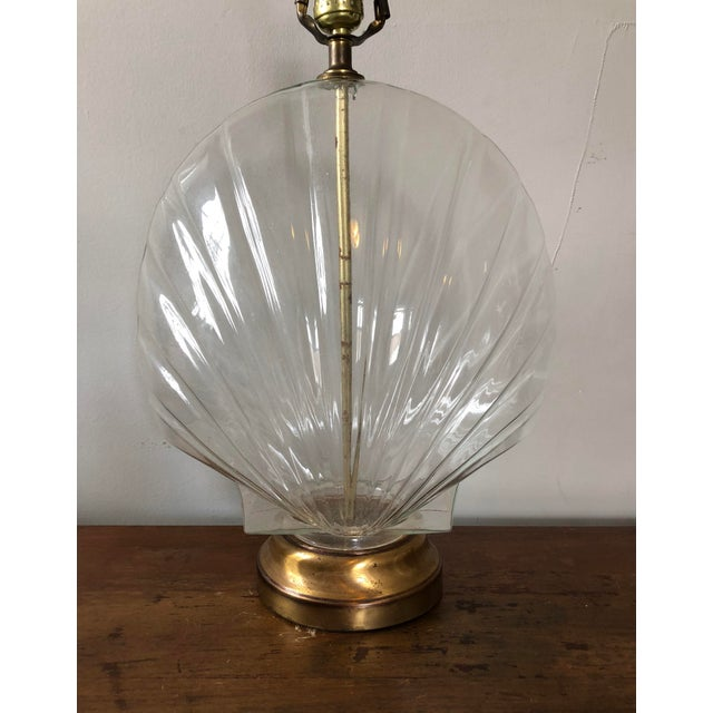 Boho Chic Vintage Glass Shell Form Table Lamps- a Pair For Sale - Image 3 of 6