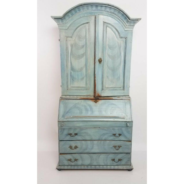Blue Antique 18th C Blue Paint Decorated French Country Secretary Desk For Sale - Image 8 of 8