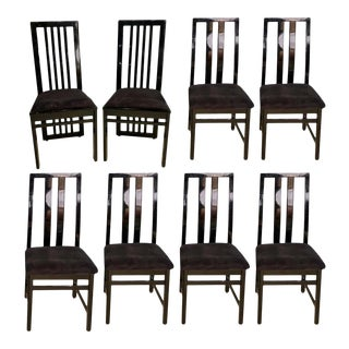 Set of Eight m.e.a Dining Chairs, Modern Italian Designer Black Lacquered For Sale