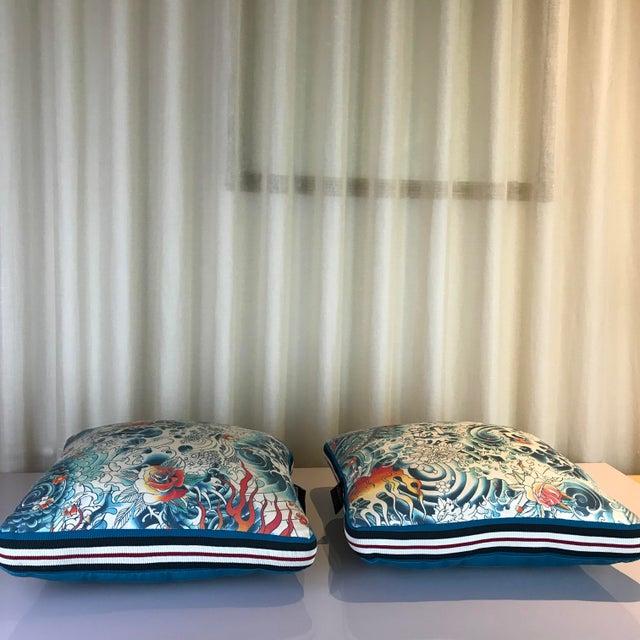 Blue Jean Paul Gaultier Decorative Pillows - A Pair For Sale - Image 8 of 9
