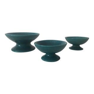Vintage Mid Century Modern Teal Ceramic Pedestal Bowls - 3 Piece Set For Sale