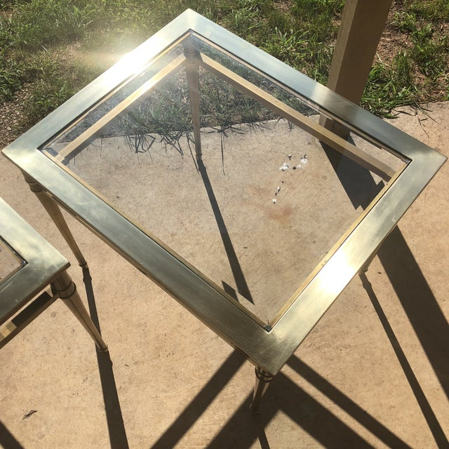 Glass Top Brass End Tables - a Pair For Sale - Image 9 of 13