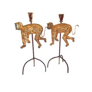 Monkey Candlesticks - A Pair