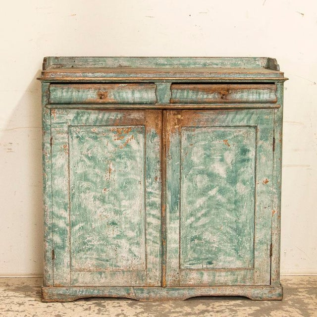 Farmhouse Antique Original Teal Green Folk Art Painted Sideboard For Sale - Image 3 of 11