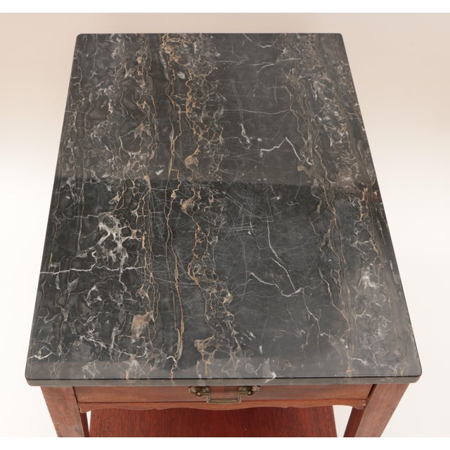 Portoro Black Marble and Mahogany SideTable For Sale - Image 4 of 11