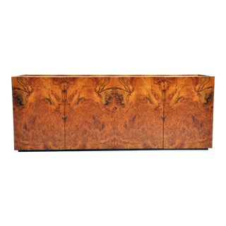 1970s French Walnut Burl Sideboard For Sale