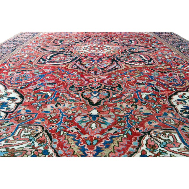"""Antique Persian Heriz Rug - 9' 11"""" by 13' 1"""" For Sale - Image 4 of 8"""