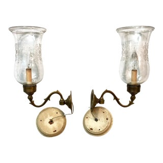 Antique English Hand Blown Hurricane Shade Sconces - a Pair For Sale