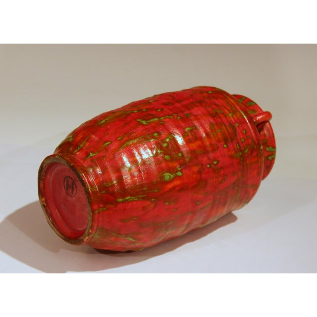 1930s Awaji Pottery Atomic Chrome Red Art Deco Hot Lava Japanese Vase For Sale - Image 5 of 11