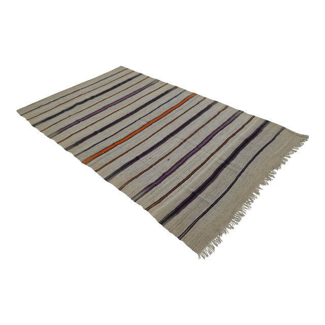 Vintage Natural Turkish Wool Stripe Kilim Rug - 4′6″ × 7′8″ - Image 1 of 9