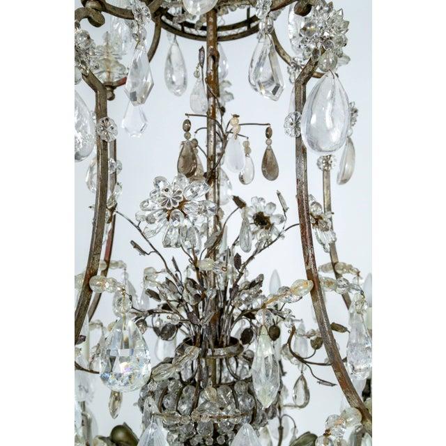 Rare Large Silver Gilt Bronze Rock Crystal Flower Bouquet 20-Light Chandelier For Sale In San Francisco - Image 6 of 13