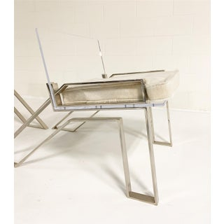 Charles Hollis Jones Lucite Chairs With Brazilian Cowhide Cushions, Pair Preview