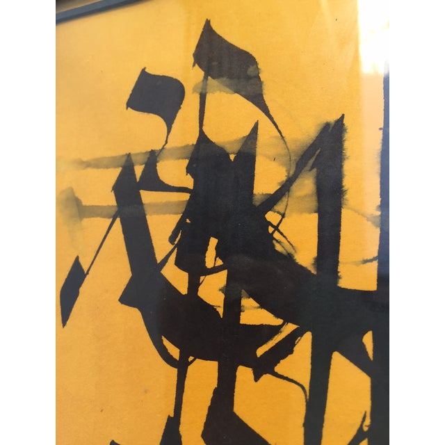 Yellow Vintage Abstract Modern Art Calligraphy Prints - A PAIR For Sale - Image 8 of 10
