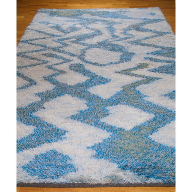 "LARGE 115"" SWEDISH KNOTTED RYA CARPET, 1950S For Sale - Image 4 of 8"
