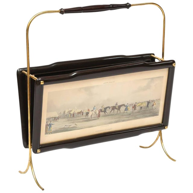 Italian Magazine Rack with two Henry Alken Engravings For Sale